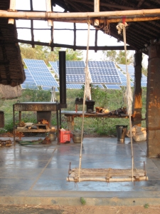 Swing, stove and solar panels at Sadhana Forest, Auroville, India