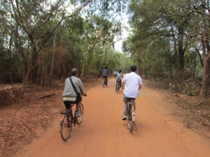 UnBox Fellows on bicycles in Auroville, India - Jan 2012